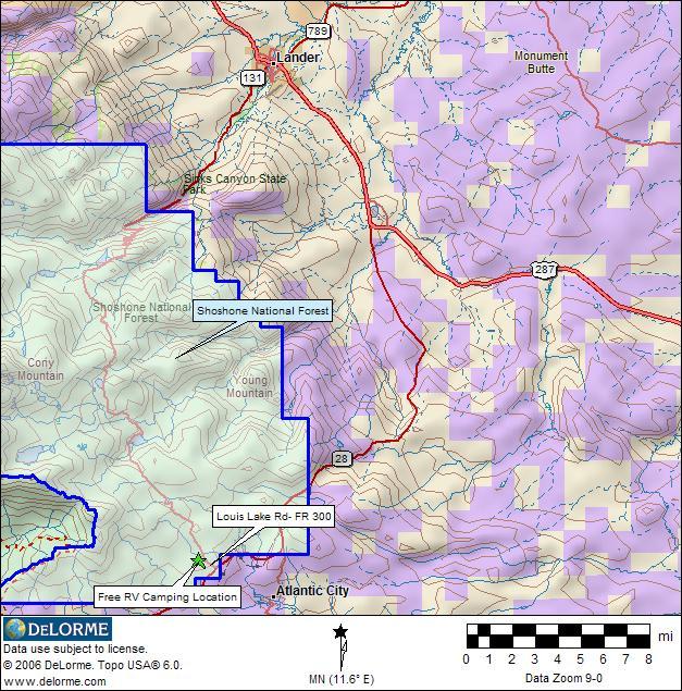 Wyoming RV Camping - Shoshone Map